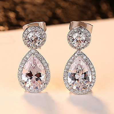 3bdab40c6 Ador Women's Clear AAA Cubic Zirconia Vintage Style Drop Earrings - Stylish  Luxury Jewelry Silver For Wedding Party 1 Pair