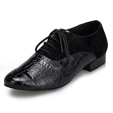 cheap Men's Shoes-Men's Modern Shoes / Ballroom Shoes Faux Leather / Cowhide Sneaker Splicing Thick Heel Dance Shoes Black / EU43