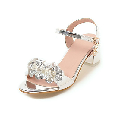 144580ef8d39 ADOR® Women s Crystal Sandals Patent Leather   PU(Polyurethane) Summer  Sandals Chunky Heel Open Toe Imitation Pearl Gold   Silver   Pink   Wedding    Party   ...