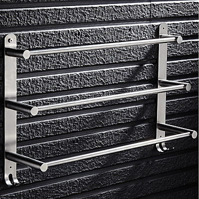 cheap Bath Accessories-Stainless Steel Silver Towel Bar 3 Tier Bathroom Towel Rack Towel Holder Rustproof Towel Hanger Slipper Rack with 2 Hooks Wall Mount 40/50/60CM