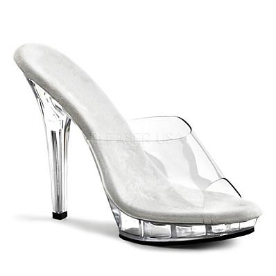 abordables Sandales-Femme Sandales Sabot & Mules Jelly Sandals Chaussures transparentes Sandales à plateforme Escarpins Bout ouvert Classique basique Sexy Mariage Soirée & Evénement PVC Couleur Pleine Eté Noir / blanc