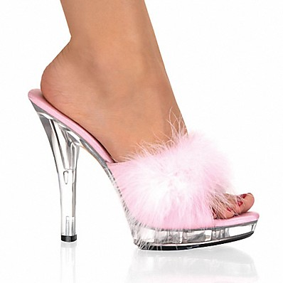 cheap Pumps & Heels-Women's Clogs & Mules Furry Feather Stiletto Heel Feather Patent Leather Club Shoes / Lucite Heel Spring / Summer Red / Pink / White / Wedding / Party & Evening / Party & Evening / EU42