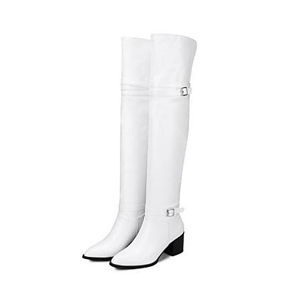 preiswerte Stiefel-Damen Stiefel Block Heel Stiefel Blockabsatz Geschlossene Spitze Stiefel über Knie Komfort Minimalismus Alltag PU Solide Winter Weiß Schwarz / Kniehohe Stiefel