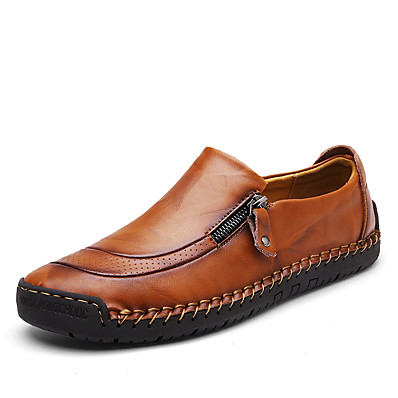 cheap Men's Shoes-Men's Leather Shoes Nappa Leather Spring & Summer / Fall & Winter British / Preppy Loafers & Slip-Ons Walking Shoes Black / Light Brown / Dark Brown