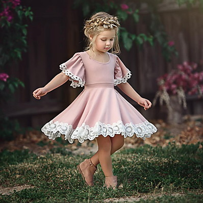cheap Kids-Kid's Little Girls' Dress Solid Color Flower Party School Causal Lace Puff Sleeve Purple Blushing Pink Green Short Sleeve Cute Sweet Dresses Summer 2-12 Years