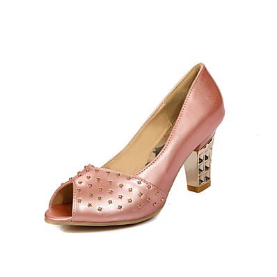 efc8b884a85767 ADOR® Femme Polyuréthane Printemps été Chaussures à Talons Talon Bottier  Bout ouvert Rivet Beige / Bleu / Rose / Mariage / Soirée & Evénement