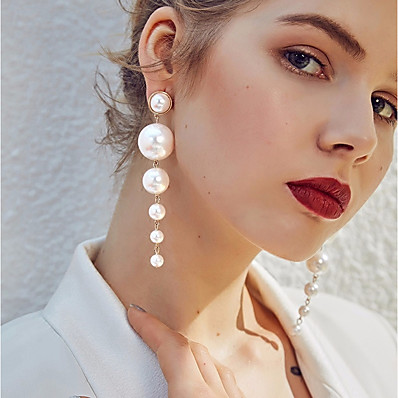 cheap Women's Jewelry-Women's White Freshwater Pearl Drop Earrings Hanging Earrings Beads Ladies Stylish Elegant everyday Pearl Earrings Jewelry White / Pearl Earrings For Wedding Birthday Evening Party Masquerade