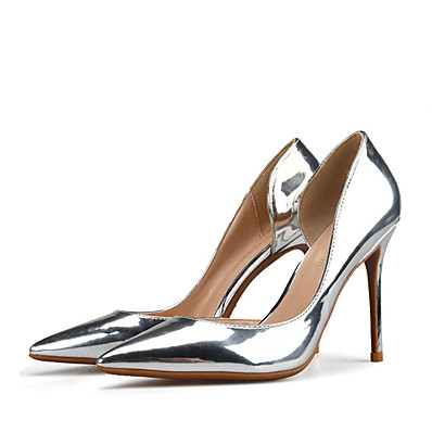 d327fde21559 ADOR® Women s Patent Leather Spring   Fall British   Minimalism Heels  Stiletto Heel Pointed Toe Gold   Silver   Party   Evening