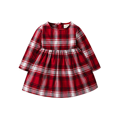 cheap Baby & Toddler Girl-Baby Girls' Basic Christmas Houndstooth Christmas Long Sleeve Dress Red / Toddler