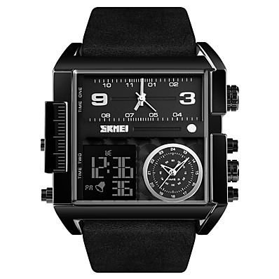 cheap Men's Watches-SKMEI Men's Sport Watch Military Watch Analog - Digital Digital Oversized Luxury Water Resistant / Waterproof Alarm Calendar / date / day / One Year / Genuine Leather