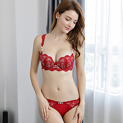 cheap NewIn-Women's Normal Sexy Full Coverage Bra Push-up - Solid Colored