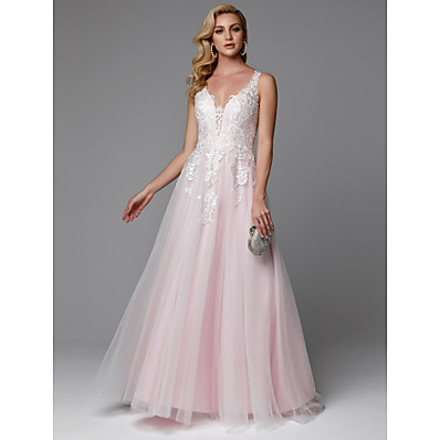 cheap Evening Dresses-A-Line V Neck Floor Length Lace / Tulle Beautiful Back / See Through Prom / Formal Evening Dress 2020 with Appliques / Buttons