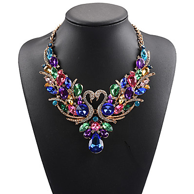 cheap Jewelry & Watches-Women's Statement Necklace Bib necklace Swan Animal Rainbow Statement Ladies Luxury Bohemian Synthetic Gemstones Rhinestone Alloy Rainbow White Red Red Necklace & Earrings Colorful Necklace & Earrings