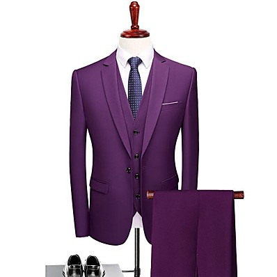 cheap Tuxedos & Suits-Solid Colored Tailored Fit Polyester Suit - Notch Single Breasted One-button / Suits
