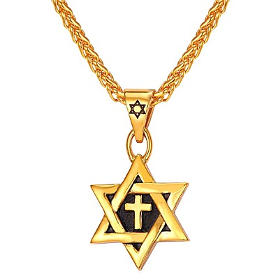 cheap Men's Jewelry-Men's Pendant Necklace Classic Star of David Pentagram Classic Vintage Stainless Steel Blue Gold Silver 550 cm Necklace Jewelry 1pc For Gift Daily