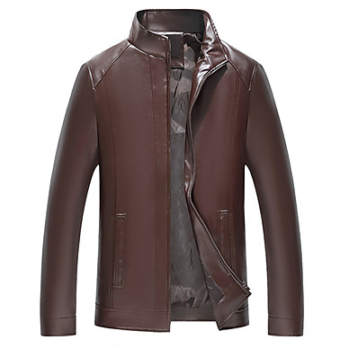 cheap Men's Outerwear-Men's Daily Basic Spring &  Fall / Fall & Winter Plus Size Regular Leather Jacket, Solid Colored Stand Long Sleeve PU / Polyester Brown / Black
