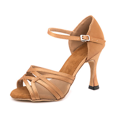 cheap Pumps & Heels-Women's Dance Shoes Latin Shoes Ballroom Shoes Line Dance Sandal Sneaker Buckle Slim High Heel Brown Ankle Strap / Performance / Satin / Leather / EU37