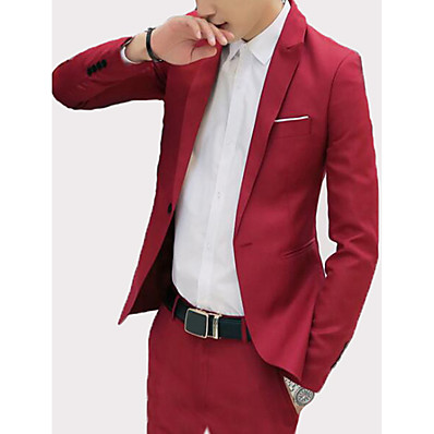 cheap Men's Outerwear-Men's Going out / Weekend Business / Vintage Spring & Summer / Fall & Winter Regular Blazer, Solid Colored Shirt Collar Long Sleeve Rayon / Polyester / Spandex Patchwork Black / Wine / Light Blue