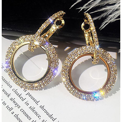 cheap Women's Jewelry-Women's Drop Earrings Hollow Out Pave Simple Korean Elegant Bling Bling everyday Imitation Diamond Earrings Jewelry Gold / Silver For Birthday Daily 1 Pair