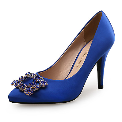 cheap Pumps & Heels-Women's Heels Pumps Pointed Toe Sweet Minimalism Wedding Party & Evening Walking Shoes Satin Rhinestone Solid Colored Summer Royal Blue Gray / 3-4