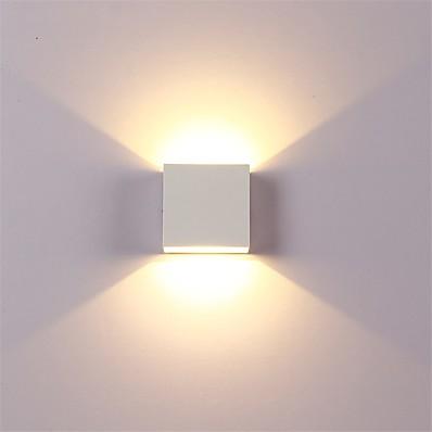 ieftine Lumini Interior-12w a condus aluminiu perete lumina feroviar proiect pătrat în aer liber rezistent la apă perete lampă dormitor cameră dormitor arte