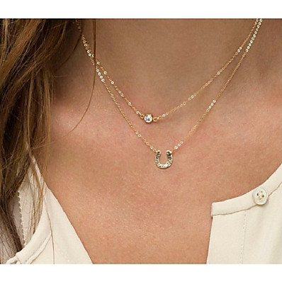 aa5bab7a7ea Ador Women's Classic Layered Necklace - Letter Trendy, Cute Lovely Gold 38 cm  Necklace Jewelry 1pc For Daily, Street