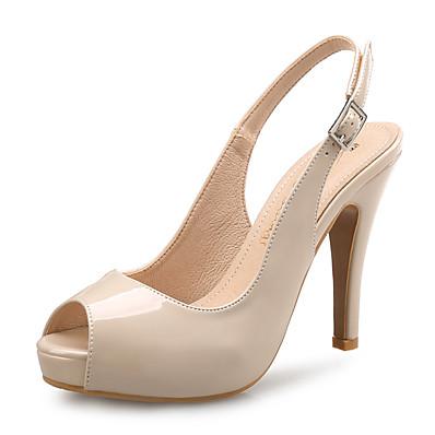 cheap Pumps & Heels-Women's Heels Platform Peep Toe Minimalism Daily Office & Career Patent Leather Summer Wine Almond Black