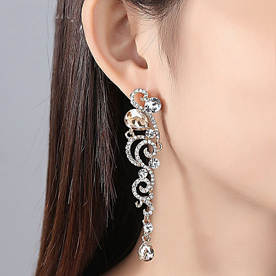 eabd038dc Ador Women's Clear Cubic Zirconia Long Earrings - Stylish Jewelry Gold /  Silver For Wedding Party 1 Pair