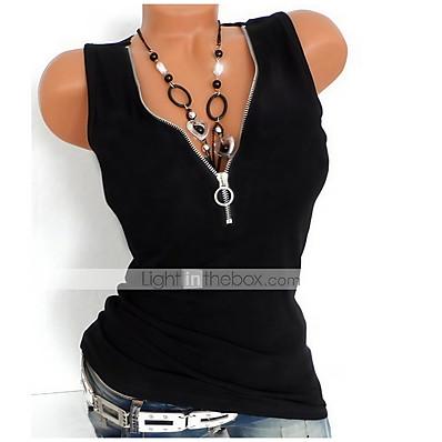cheap Valentine's Gifts-Women's Tank Top Solid Colored Zipper Quarter Zip V Neck Basic Tops Cotton Yellow Orange White