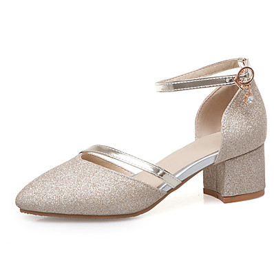 c4cdf5917a9 ADOR® Women s Faux Leather Spring   Summer Heels Chunky Heel Pointed Toe  Gold   Silver   Wedding   Party   Evening