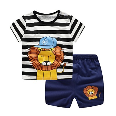 cheap Baby & Toddler Boy-Baby Boys' Basic Daily Blue & White Jacquard Short Sleeve Short Short Clothing Set Navy Blue / Toddler