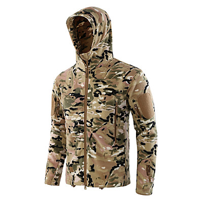 cheap Hunting & Nature-Men's Hunting Jacket Outdoor Fall Winter Spring Thermal Warm Waterproof Windproof Warm Coat Top Camo Cotton Camping / Hiking Hunting Fishing Green / Black Camouflage Camouflage Gray