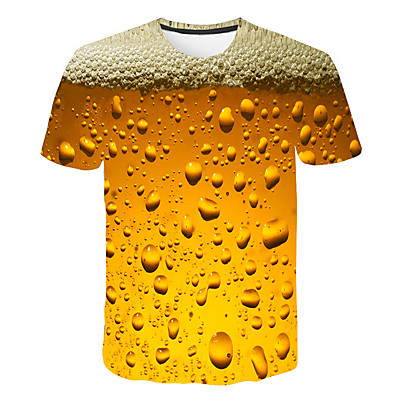 cheap Men's Tops-Men's Daily Weekend Basic / Street chic T-shirt Print Round Neck Yellow / Short Sleeve