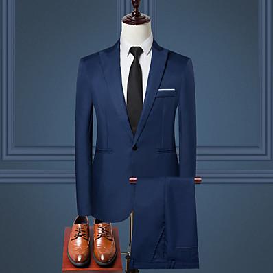 cheap Men's Outerwear-Men's Work Regular Suits, Solid Colored Shirt Collar Long Sleeve Polyester Black / Wine / Light Blue