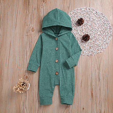 cheap Baby & Toddler Boy-Baby Boys' Active Daily Solid Colored Retro Long Sleeve Romper Green / Toddler
