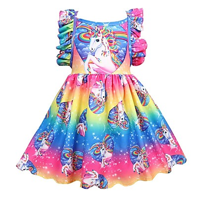 cheap Kids-Kids Little Girls' Dress Unicorn Rainbow Floral Patchwork Holiday Pleated Print Rainbow Knee-length Sleeveless Active Sweet Dresses Regular Fit