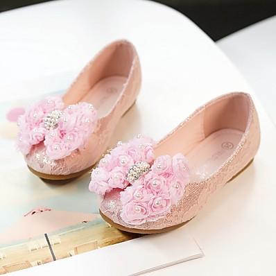 010160c552548 Fille Chaussures Dentelle / Maille Printemps / Automne Ballerine /  Chaussures de Demoiselle d'Honneur Fille Ballerines Fleur pour Enfants /  Bébé Dorée ...