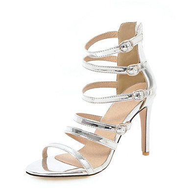 4e552033cfe0 Women s PU(Polyurethane) Summer Sandals Stiletto Heel Open Toe Buckle White    Black   Silver   Party   Evening