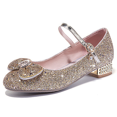 f1a392bc62 Women's PU(Polyurethane) Spring & Summer Sweet / British Heels Low Heel  Round Toe Bowknot / Sequin / Buckle Gold / Silver / Pink