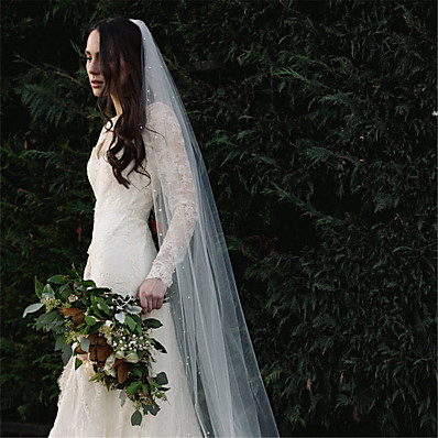 cheap Wedding Accessories-One-tier European Style Wedding Veil Chapel Veils with Beading Cotton / nylon with a hint of stretch / Angel cut / Waterfall