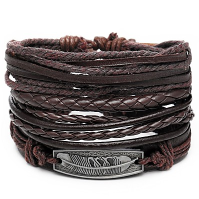cheap Men's Jewelry-4pcs Men's Leather Bracelet Retro Rope Plaited Wrap Feather Unique Design Hip-Hop PU(Polyurethane) Bracelet Jewelry Brown For Gift Daily