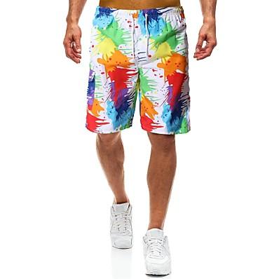 cheap Men's Bottoms-Men's Beach Style / Tropical Loose Shorts Pants - Print Rainbow L XL XXL