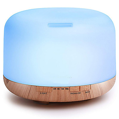 abordables Outils & Equipement-Machine d'aromathérapie ASAKUKI 500ml Premium, Essential Oil Diffuser, 5 in 1 Ultrasonic Aromatherapy Fragrant Oil Vaporizer Humidifier, Timer and Auto-Off Safety Switch, 7 LED Light Colors PP Marron