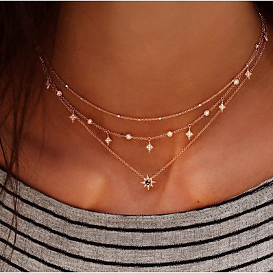 cheap Women's Jewelry-Women's Layered Necklace Stacking Stackable Star North Star Elegant European Fashion Chrome Imitation Diamond Gold 30 cm Necklace Jewelry 1pc For Daily Date