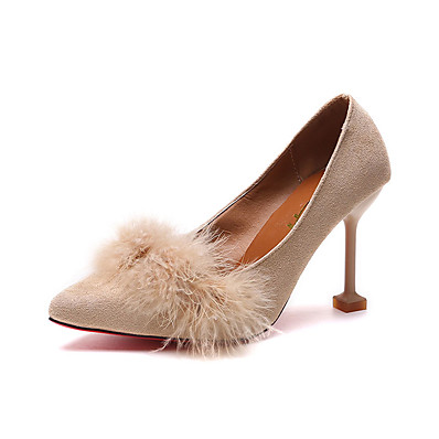 009b3c36d Women s PU(Polyurethane) Spring Minimalism Heels Kitten Heel Pointed Toe  Black   Pink   Khaki