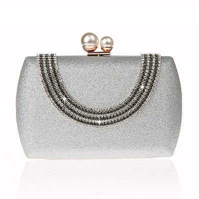 f098b8429db ADOR® Women's Bags Silk Evening Bag Crystals Solid Color White / Silver /  Beige