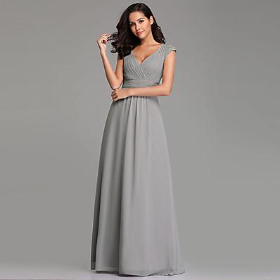 cheap Bridesmaid Dresses-A-Line Plunging Neck Long Length Chiffon Bridesmaid Dress with Pleats