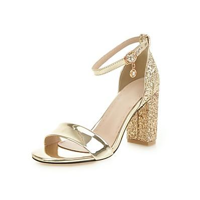 328d79576a2 Women s PU(Polyurethane) Spring   Summer Classic   British Sandals Chunky  Heel Rhinestone   Buckle Gold   Silver