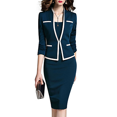 cheap Two Piece Set-Women's Work Suits Jacket - Solid Colored Dress V Neck / Spring