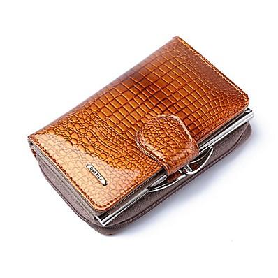 preiswerte Taschen-Damen Taschen PU-Leder Lackleder Portemonaies Reißverschluss Krokodilmuster Alltag Verabredung Schwarz Purpur Rote Kaffee